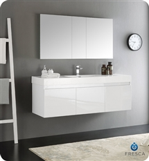 "Fresca Mezzo 60"" White Wall Hung Single Sink Modern Bathroom Vanity with Medicine Cabinet"