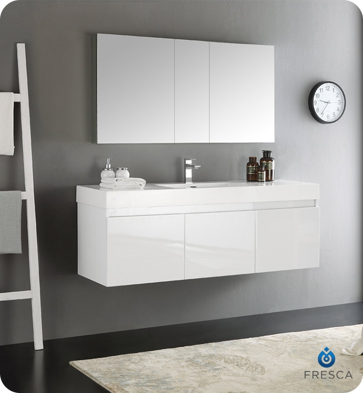 Fresca Mezzo 60 White Wall Hung Single Sink Modern Bathroom Vanity With Medicine Cabinet