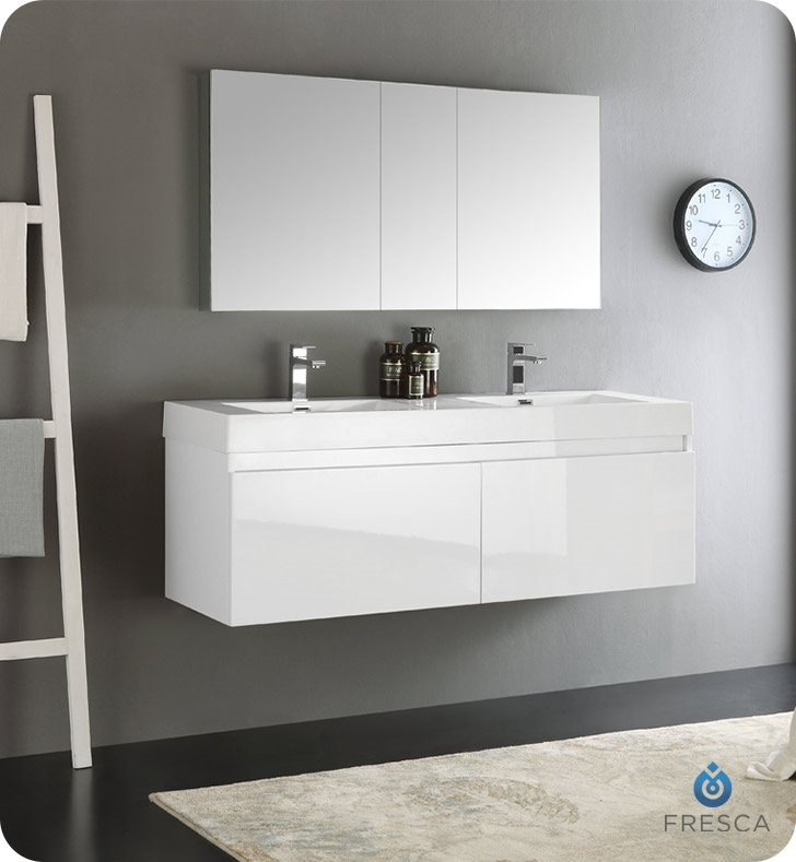 Fresca Mezzo 60  White Wall Hung Double Sink Modern Bathroom Vanity with Medicine Cabinet Vanities Buy Furniture Cabinets RGM