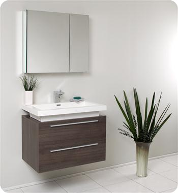 Fresca - Medio - (Gray Oak) Bathroom Vanity w/ Two Drawers and White Acrylic Countertop - FVN8080GO
