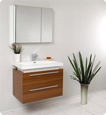 Fresca - Medio - (Teak) Bathroom Vanity w/ Two Drawers and White Acrylic Countertop - FVN8080TK