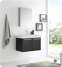 "Fresca Vista 30"" Black Wall Hung Modern Bathroom Vanity with Medicine Cabinet"