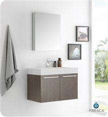 "Fresca Vista 30"" Gray Oak Wall Hung Modern Bathroom Vanity with Medicine Cabinet"