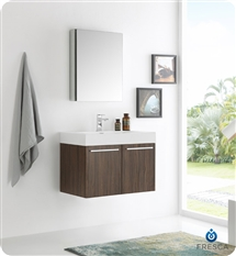 "Fresca Vista 30"" Walnut Wall Hung Modern Bathroom Vanity with Medicine Cabinet"