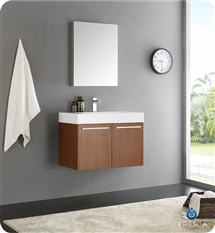 "Fresca Vista 30"" Teak Wall Hung Modern Bathroom Vanity with Medicine Cabinet"