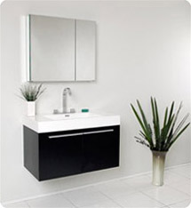 Fresca - Vista - (Black) Bathroom Vanity with White Acrylic Sink and Countertop - FVN8090BW