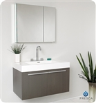 "Fresca Vista 36"" Gray Oak Modern Bathroom Vanity with Medicine Cabinet"