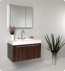 Fresca - Vista - (Walnut) Bathroom Vanity with White Acrylic Sink and Countertop - FVN8090GW