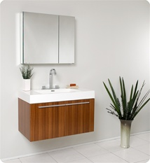 Fresca - Vista - (Teak) Bathroom Vanity with White Acrylic Sink and Countertop - FVN8090TK