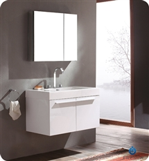 Fresca Vista White Modern Bathroom Vanity with Medicine Cabinet