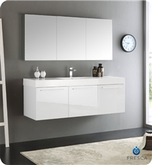 "Fresca Vista 60"" White Wall Hung Single Sink Modern Bathroom Vanity with Medicine Cabinet"