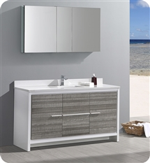 "Fresca Allier Rio 60"" Ash Gray Single Sink Modern Bathroom Vanity with Medicine Cabinet"