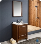 "Fresca Allier 24"" Wenge Brown Modern Bathroom Vanity w/ Mirror"