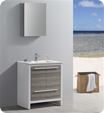 "Fresca Allier Rio 30"" Ash Gray Modern Bathroom Vanity with Medicine Cabinet"