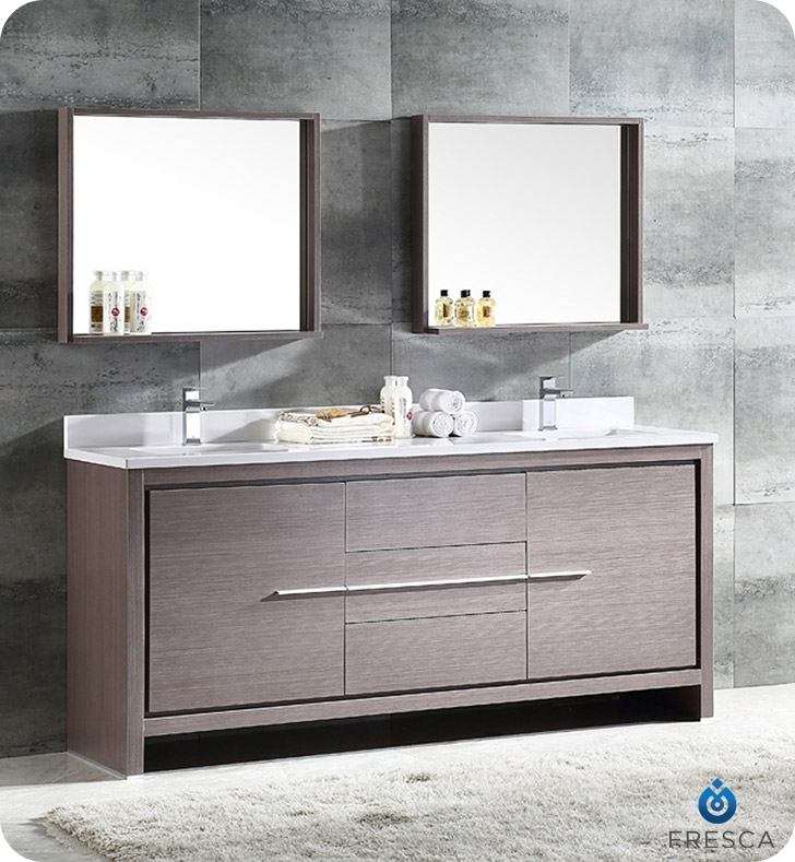 Fresca Allier 72 Gray Oak Modern Double Sink Bathroom Vanity W Mirror