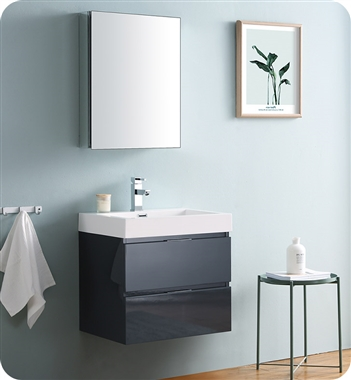 "Fresca Valencia 24"" Dark Slate Gray Wall Hung Modern Bathroom Vanity with Medicine Cabinet"