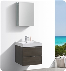 "Fresca Valencia 24"" Gray Oak Wall Hung Modern Bathroom Vanity with Medicine Cabinet"