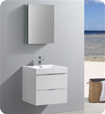"Fresca Valencia 24"" Glossy White Wall Hung Modern Bathroom Vanity with Medicine Cabinet"