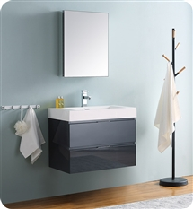 "Fresca Valencia 30"" Dark Slate Gray Wall Hung Modern Bathroom Vanity with Medicine Cabinet"