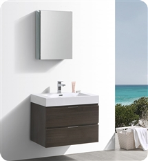 "Fresca Valencia 30"" Gray Oak Wall Hung Modern Bathroom Vanity with Medicine Cabinet"