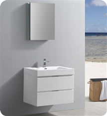 "Fresca Valencia 30"" Glossy White Wall Hung Modern Bathroom Vanity with Medicine Cabinet"