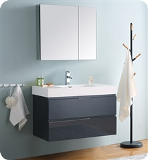 "Fresca Valencia 36"" Dark Slate Gray Wall Hung Modern Bathroom Vanity with Medicine Cabinet"