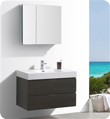 "Fresca Valencia 36"" Gray Oak Wall Hung Modern Bathroom Vanity with Medicine Cabinet"