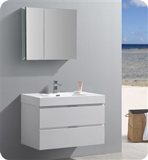 "Fresca Valencia 36"" Glossy White Wall Hung Modern Bathroom Vanity with Medicine Cabinet"