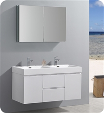 "Fresca Valencia 48"" Glossy White Wall Hung Double Sink Modern Bathroom Vanity with Medicine Cabinet"
