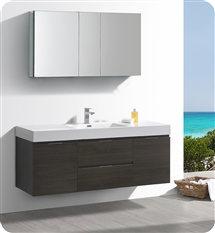 "Fresca Valencia 60"" Gray Oak Wall Hung Modern Bathroom Vanity with Medicine Cabinet"