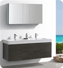 "Fresca Valencia 60"" Gray Oak Wall Hung Double Sink Modern Bathroom Vanity with Medicine Cabinet"