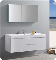 "Fresca Valencia 60"" Glossy White Wall Hung Modern Bathroom Vanity with Medicine Cabinet"
