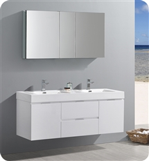 "Fresca Valencia 60"" Glossy White Wall Hung Double Sink Modern Bathroom Vanity with Medicine Cabinet"