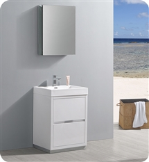 "Fresca Valencia 24"" Glossy White Free Standing Modern Bathroom Vanity with Medicine Cabinet"