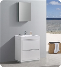 "Fresca Valencia 30"" Glossy White Free Standing Modern Bathroom Vanity with Medicine Cabinet"
