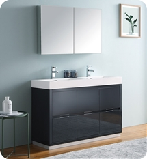 "Fresca Valencia 48"" Dark Slate Gray Free Standing Double Sink Modern Bathroom Vanity with Medicine Cabinet"