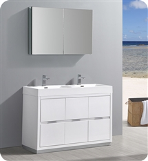 "Fresca Valencia 48"" Glossy White Free Standing Double Sink Modern Bathroom Vanity with Medicine Cabinet"