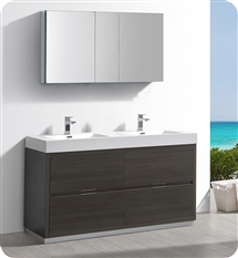 "Fresca Valencia 60"" Gray Oak Free Standing Double Sink Modern Bathroom Vanity with Medicine Cabinet"