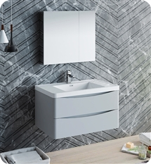 "Fresca Tuscany 32"" Glossy Gray Wall Hung Modern Bathroom Vanity with Medicine Cabinet"