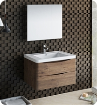 "Fresca Tuscany 32"" Rosewood Wall Hung Modern Bathroom Vanity with Medicine Cabinet"