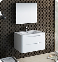 "Fresca Tuscany 32"" Glossy White Wall Hung Modern Bathroom Vanity with Medicine Cabinet"