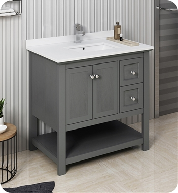 "Fresca Manchester Regal 36"" Gray Wood Veneer Traditional Bathroom Cabinet w/ Top & Sink"