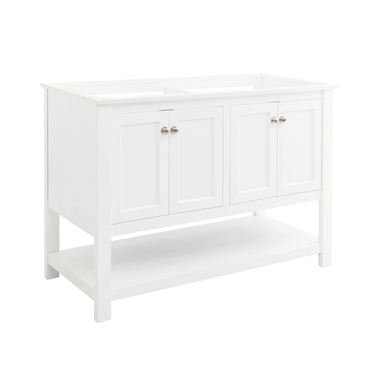 "Fresca Manchester 48"" White Traditional Double Sink Bathroom Cabinet"