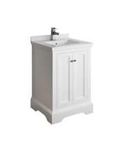 "Fresca Windsor 24"" Matte White Traditional Bathroom Cabinet with Top & Sink"