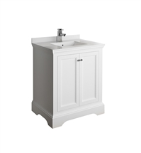 "Fresca Windsor 30"" Matte White Traditional Bathroom Cabinet with Top & Sink"