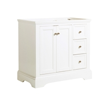"Fresca Windsor 36"" Matte White Traditional Bathroom Cabinet"