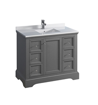 "Fresca Windsor 40"" Gray Textured Traditional Bathroom Cabinet with Top & Sink"