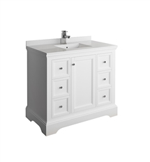 "Fresca Windsor 40"" Matte White Traditional Bathroom Cabinet with Top & Sink"