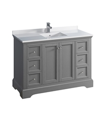 "Fresca Windsor 48"" Gray Textured Traditional Bathroom Cabinet with Top & Sink"