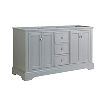 "Fresca Windsor 60"" Gray Textured Traditional Double Sink Bathroom Cabinet"